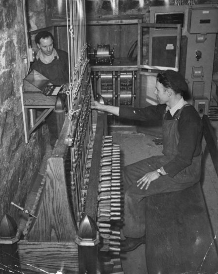The keyboard for the bells in St Nicholas Church in 1952.