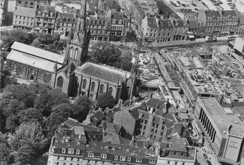 St Nicholas Church seen from above in July 1984.