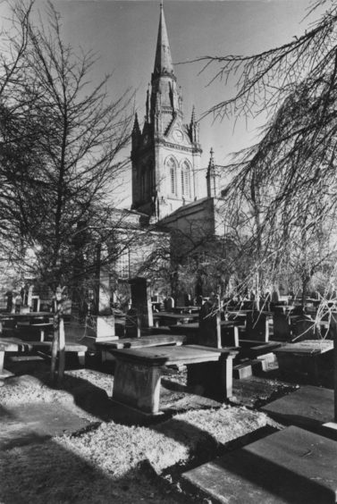 The Kirk of St Nicholas pictured through the frost covered trees in January 1990.