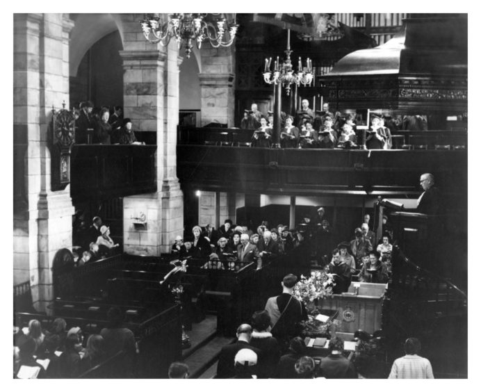 The Moderator, the Rt. Rev. Dr Archibald Watt in the pulpit at the West Church of St Nicholas in 1966