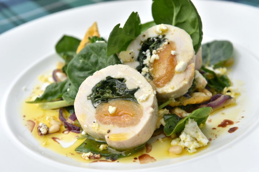 Chicken with spinach and apricot by The Kilted Chef from Eat On The Green.