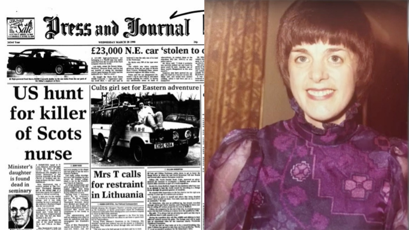 The P&J's front page on March 28, 1990, left, and Elizabeth Mackintosh right
