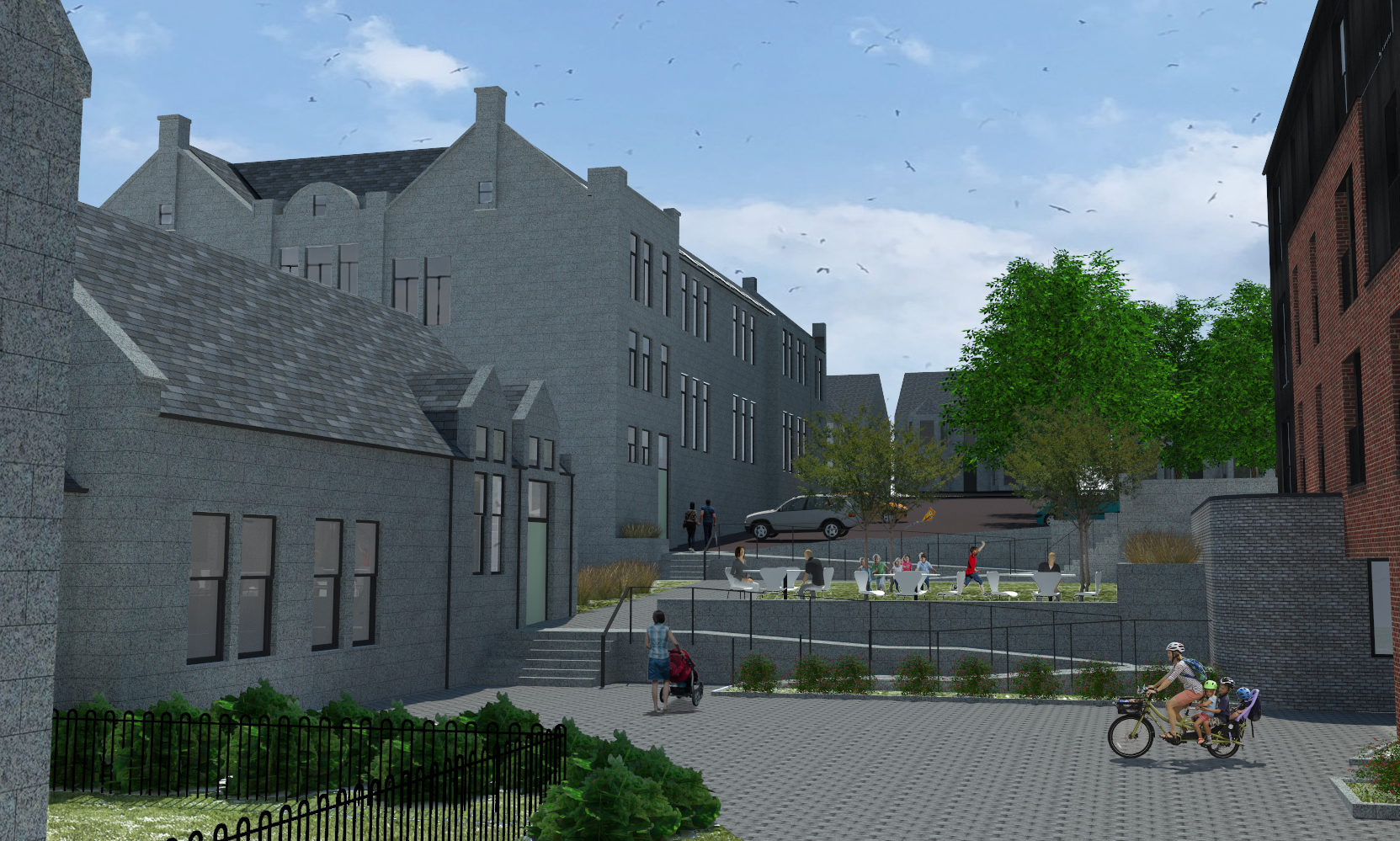 An artist's impression of the new affordable housing development at the former Victoria Road School in Torry, Aberdeen.
