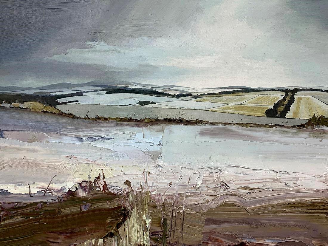Winter Fields, Tullochvenus, oil on canvas board, 46 x 61 cm