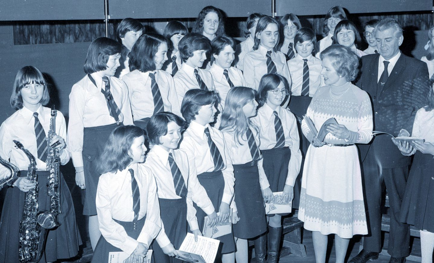 Members of the Bridge of Don Academy Junior Choir chat with Tory Party leader Mrs Margaret Thatcher in January 1978. Mrs Thatcher was in the north-east on a fast-moving tour which included visits to Dyce, Cults, Inverurie and Bridge of Don. She also spoke to Tory Party workers from North and South Aberdeen at a meeting in the Amatola Hotel.