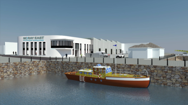 An artist's impression of Fraserburgh Harbour's new Moray East O&M base.