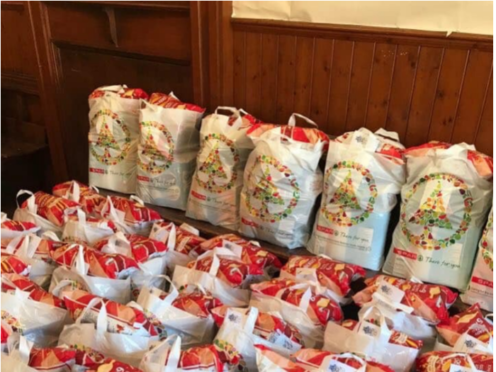 Just some of the hampers that were donated