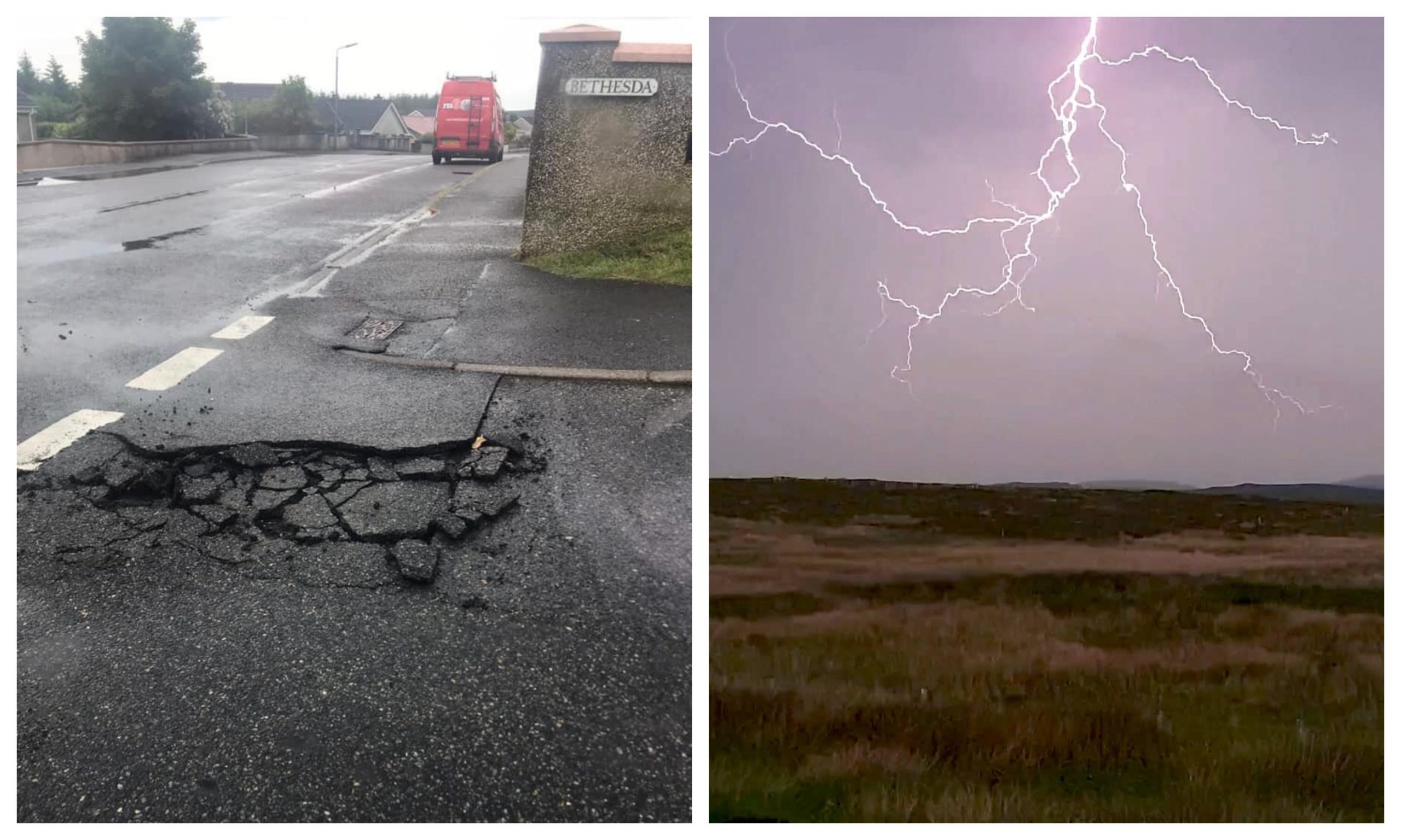 Left: Storm damage in Stornoway, picture by Michaela Fairbrother. Right: Lightning strikes in Newmarket, near Stornoway, picture by Dr Claire Gerrard