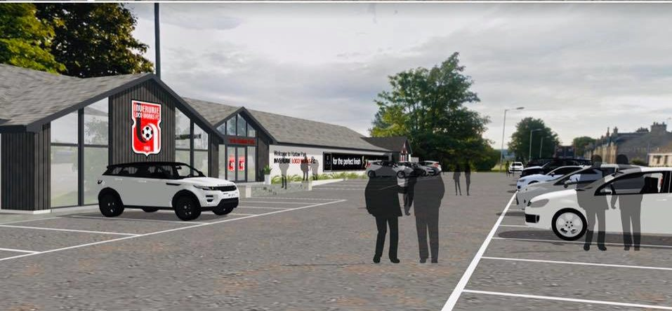 An impression of plans to redevelop Harlaw Park, home of Inverurie Locos.