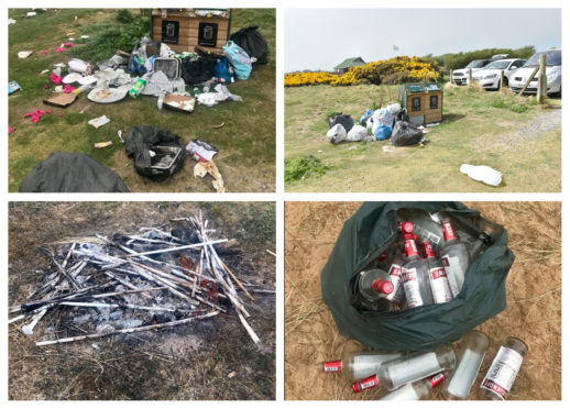 Some of the rubbish left at Balmedie