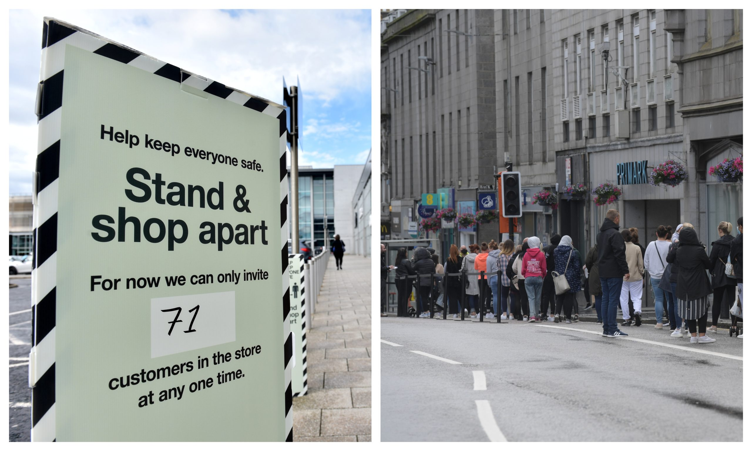 A sign outside Union Square (left) and shoppers queuing on Union Street, Aberdeen (right). Pictures by Darrell Benns and Kath Flannery