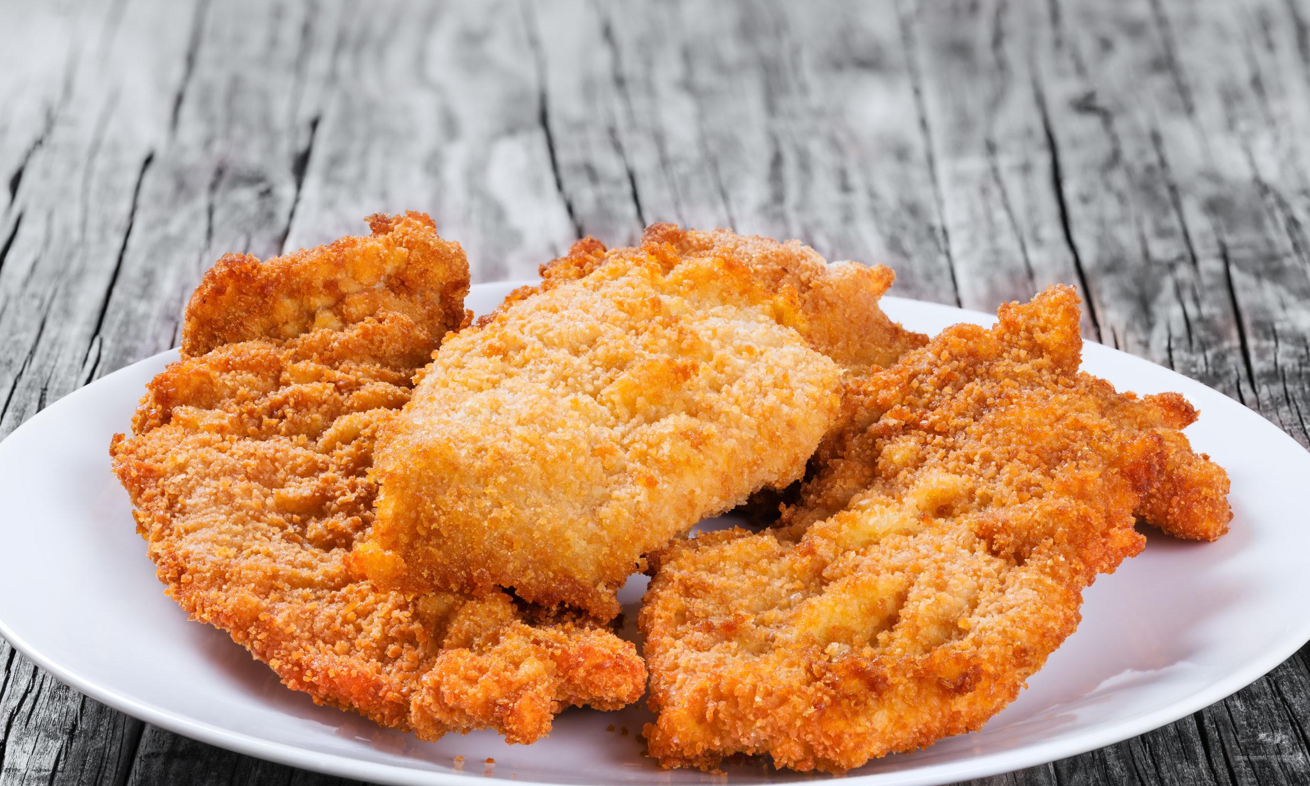 Tasty breaded chicken.
