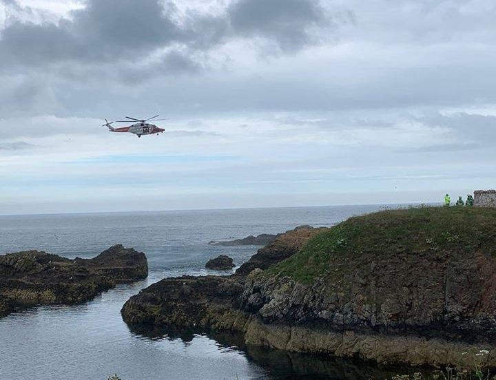 The rescue in progress at Boddam