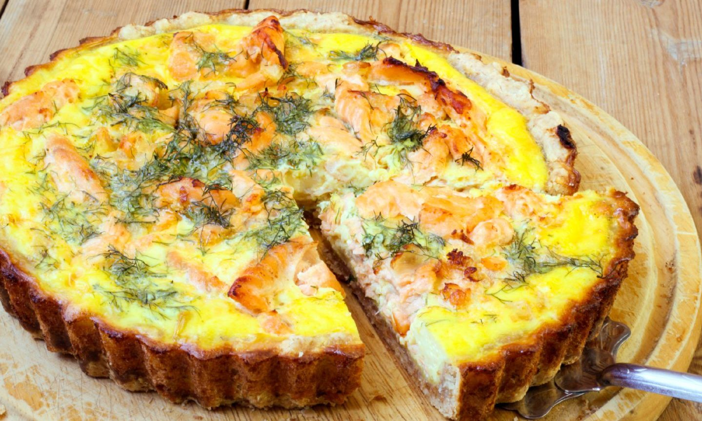 Salmon and dill tart.