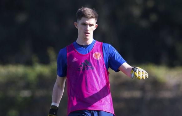 Ross Doohan training with Scotland under-21s.