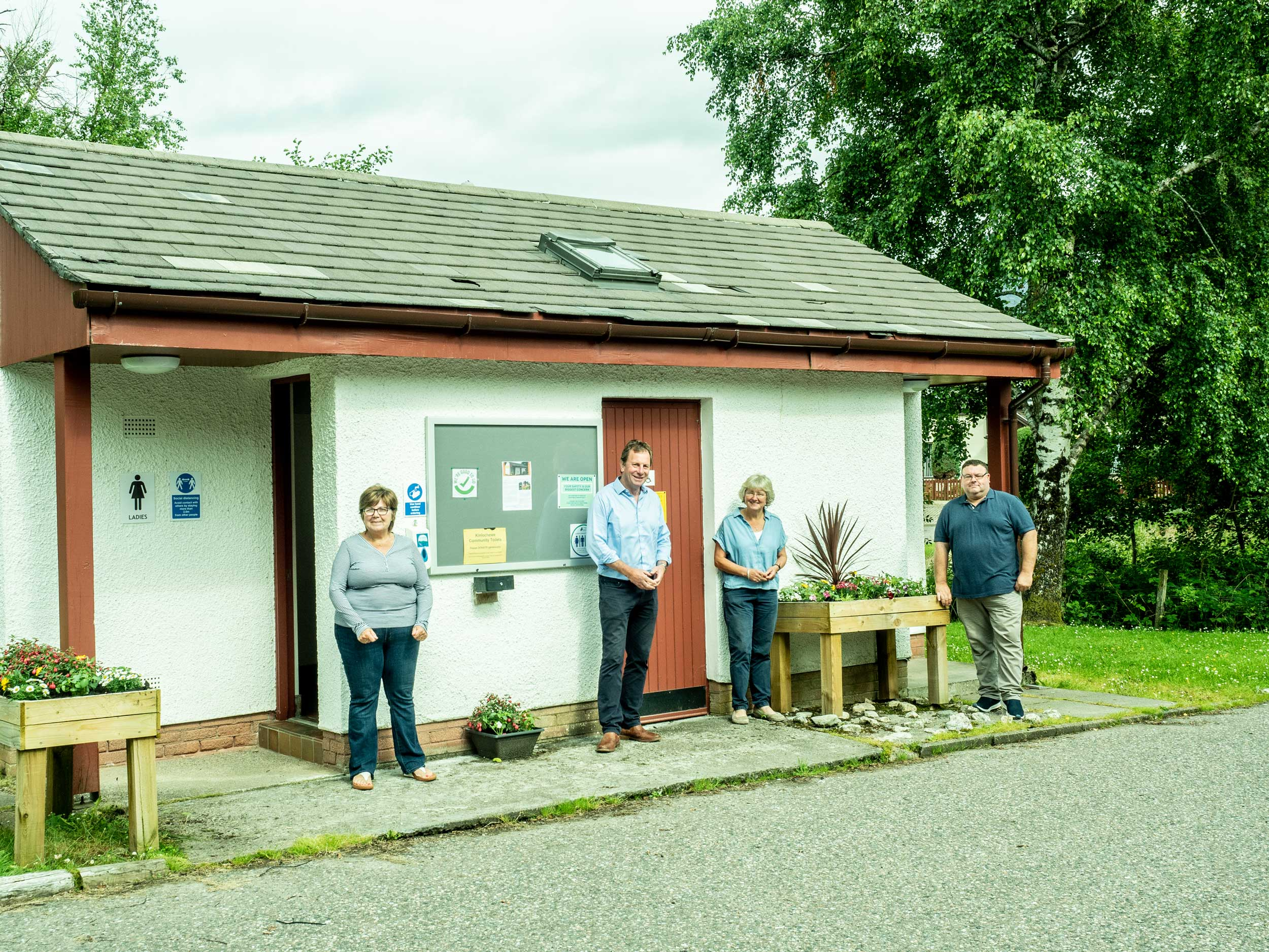Kinlochewe community toilets, L-R Karen Twist, NHI David Whiteford, Mary Peart, Andrew Peacock