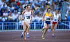 Britain's Linsey Macdonald runs the first leg in the Grand Arena of the Central Lenin Stadium.