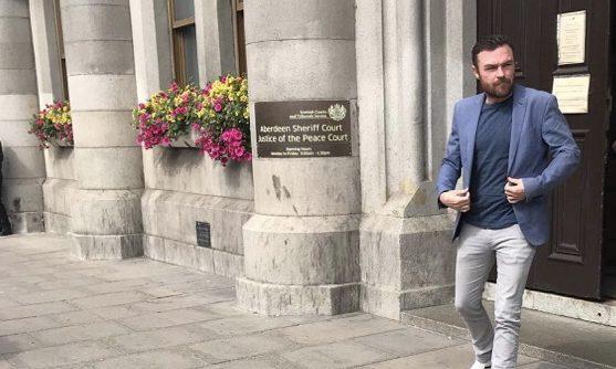 Jonathan Slowey leaving Aberdeen Sheriff Court.