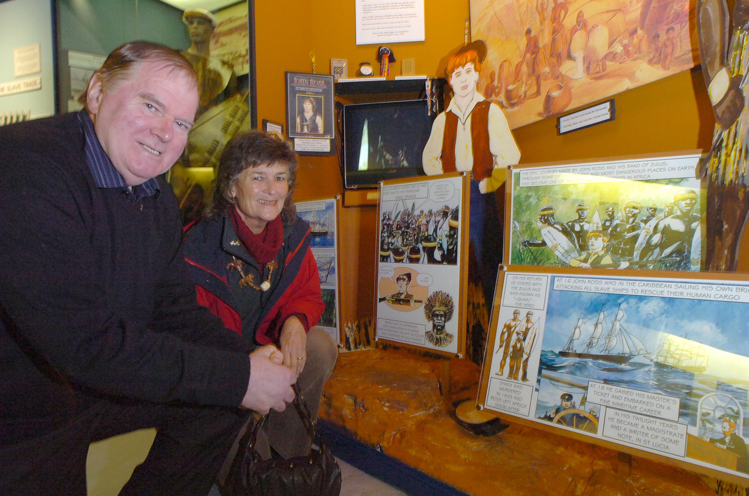 Heritge Centre chairman Ian Watson show the Charles Maclean exhibit to Jenny Hawke, from South Africa, on a previous visit.