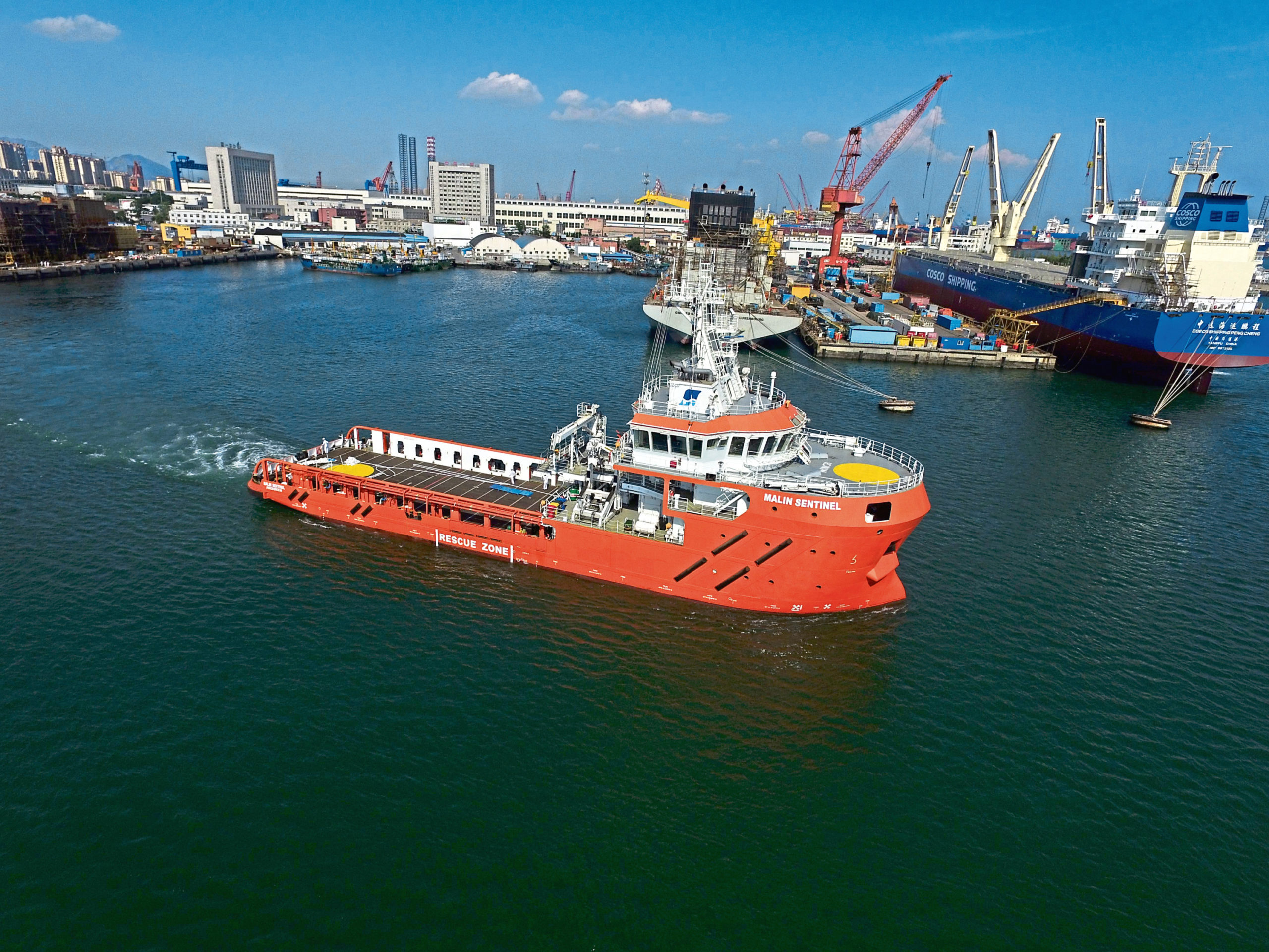 The Malin Sentinel leaving Dalian Port in China en route for Aberdeen via Singapore and the Suez Canal  Handout from Tricker Communications