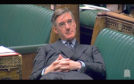Jacob Rees-Mogg reclining in the House of Commons last year.
