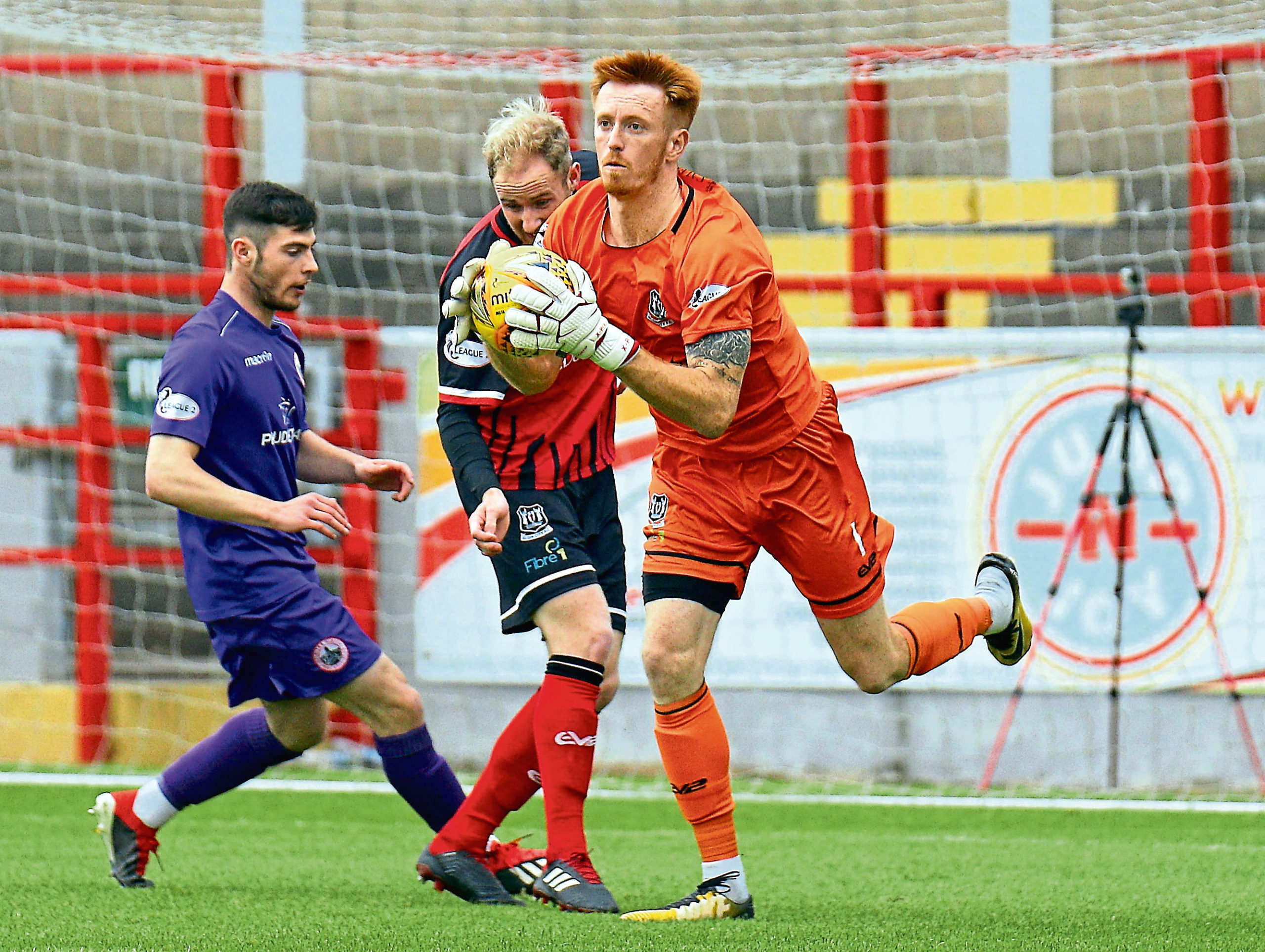 Stirling Albion - Elgin City BOB CROMBIE PIC- 14th September 2019 Stirling Albion - Elgin City in a  Ladbrokes League 2 game played at Forthbank Stadium, Stirling.Kick off 15.00 Elgin goalkeeper Thomas McHale comes out to collect the ball. Robert W Crombie