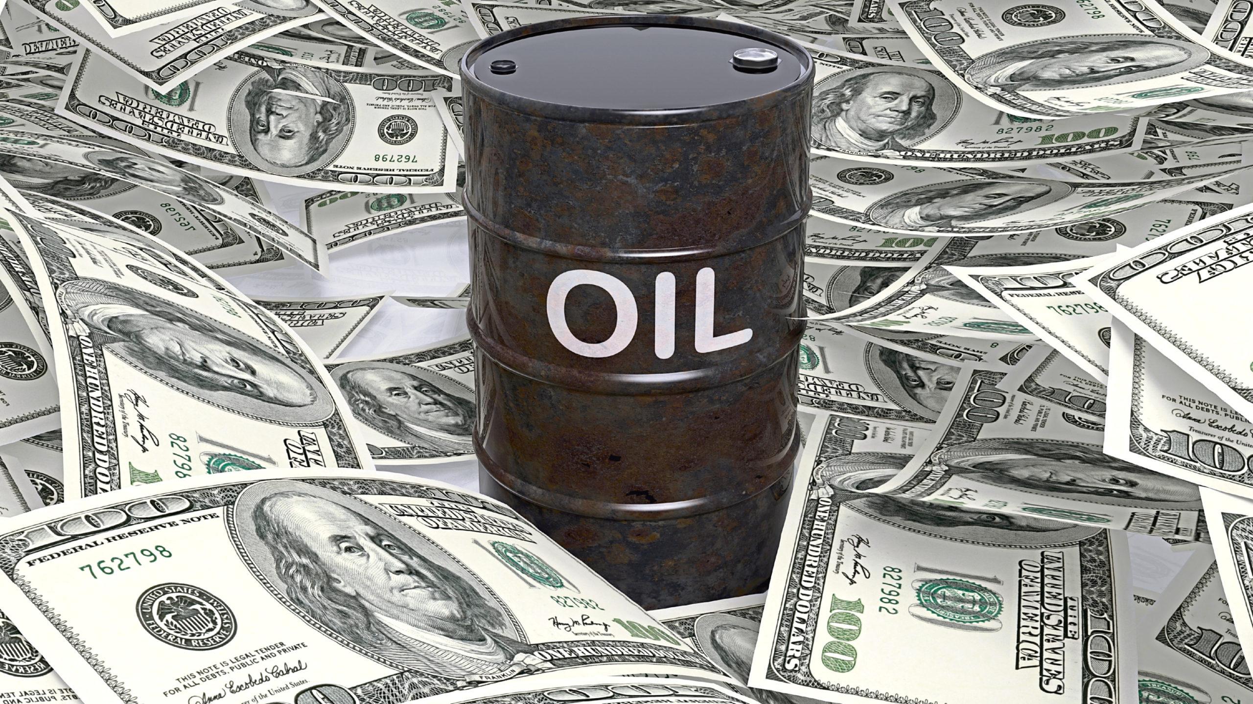 3D black oil drum set on dollar banknotes pile, 3d rendering; Shutterstock ID 399452848; Purchase Order: -