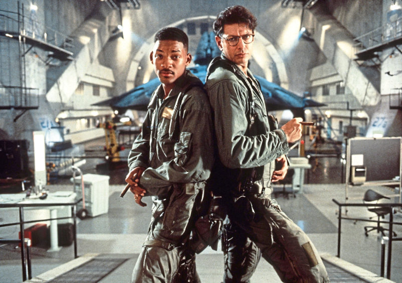 GOOD BOX OFFICE: Prime Minister Boris Johnson labelled the Brexit vote 'our Independence Day', a reference to the hit movie of the same name starring Will Smith and  Jeff Goldblum, above.