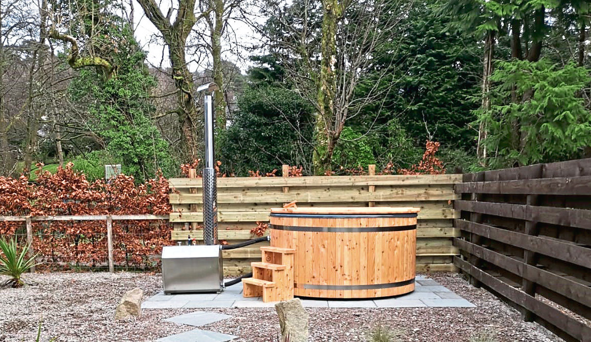 The hot tubs are made using larch grown on the estate.