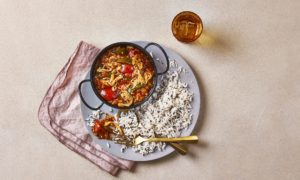 Chicken jalfrezi with fragrant basmati rice