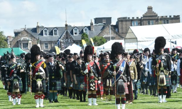 Pipe bands at the Aboyne Highland Games 2019, photograph by Colin Rennie