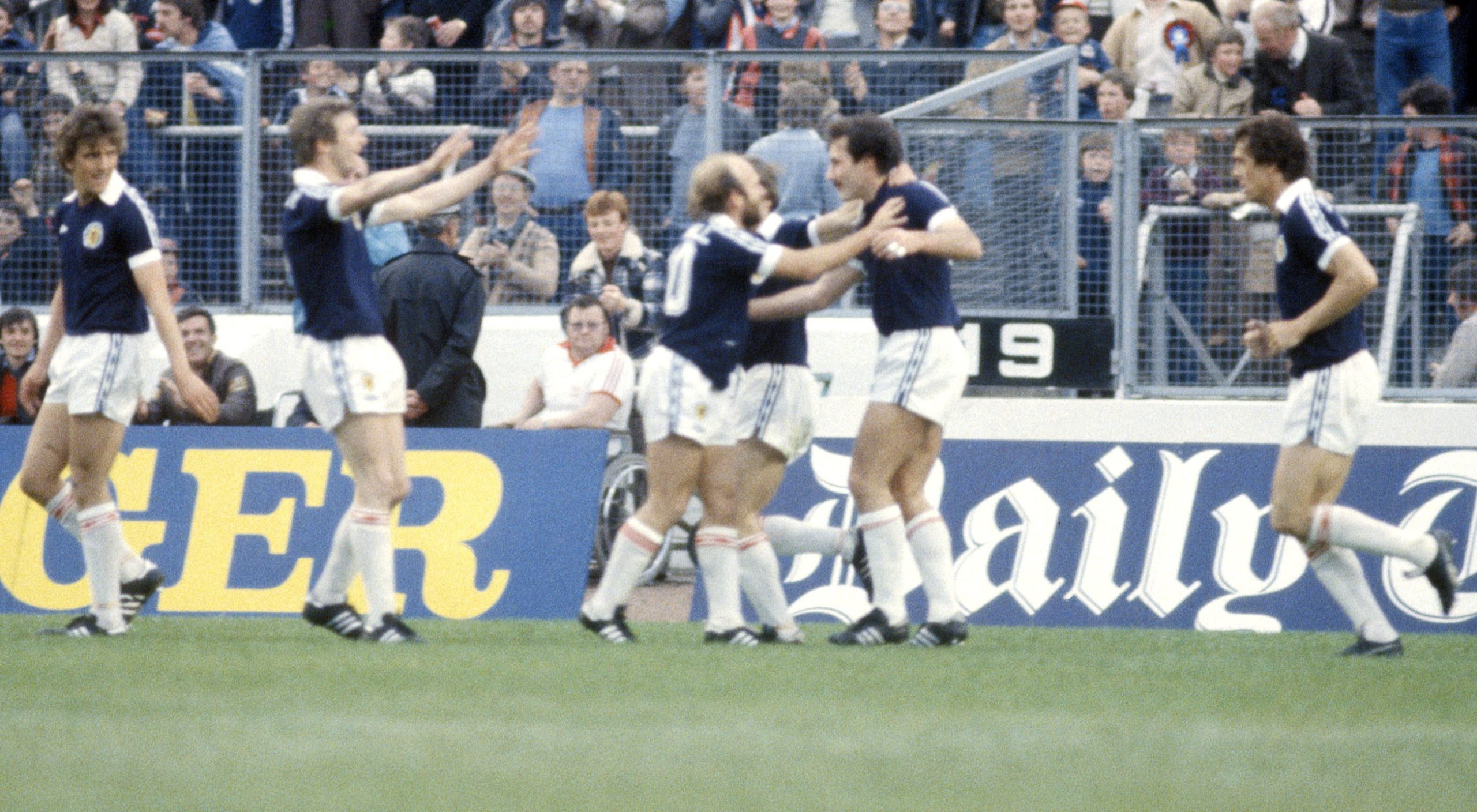 Scotland's Willie Miller (2nd right) celebrates scoring against Wales in 1980 with teammates (l to r): Peter Weir, Paul Hegarty, Archie Gemmill and Joe Jordan)