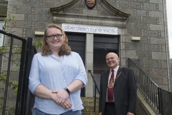 Lynda Reid-Fowler, of Aberdeen Cyrenians, with the Lord Provost of Aberdeen Barney Crockett.