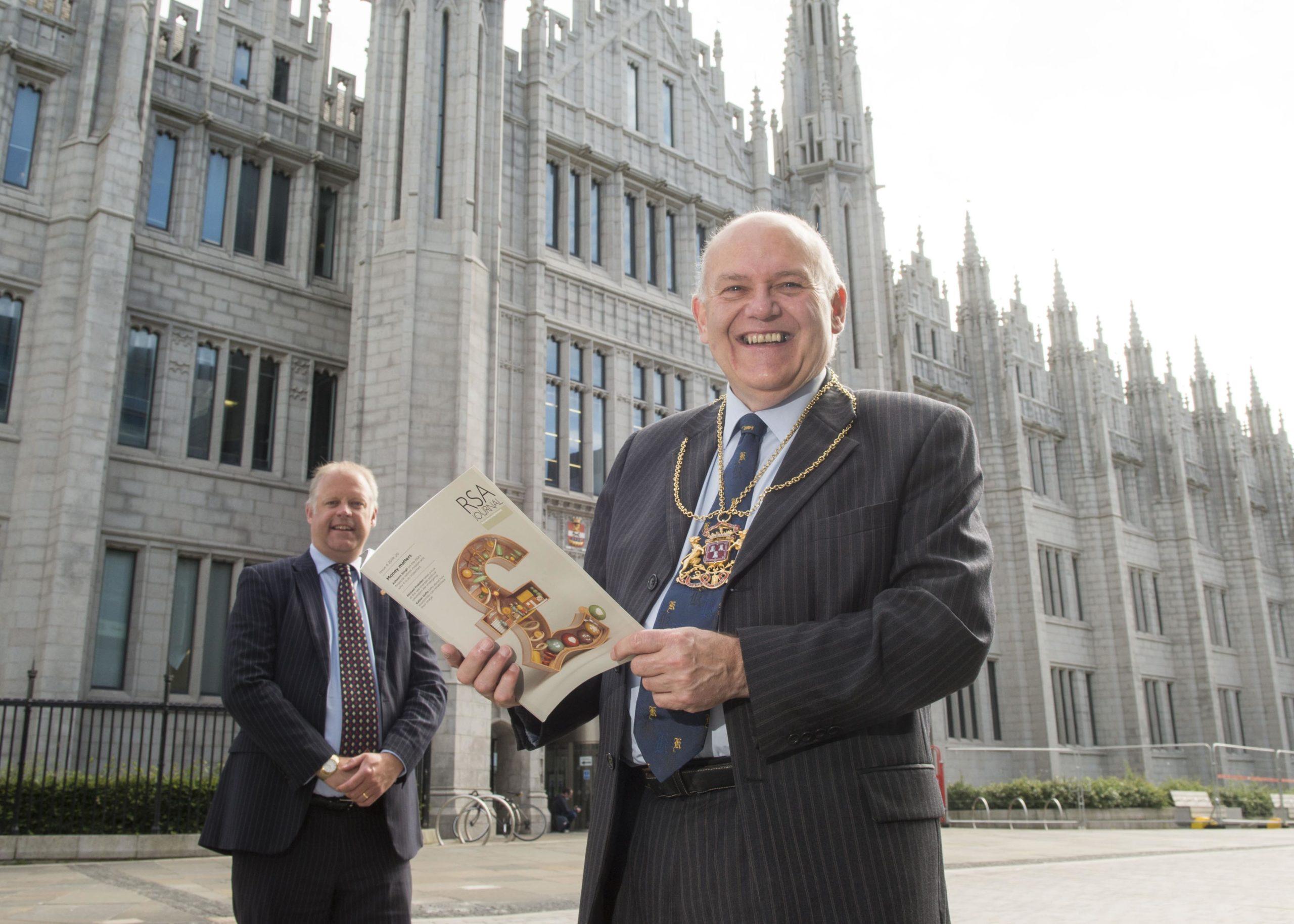 Fellowship councillor and Aberdeen University lecturer Neil McLennan and Lord Provost of Aberdeen Barney Crockett (right).