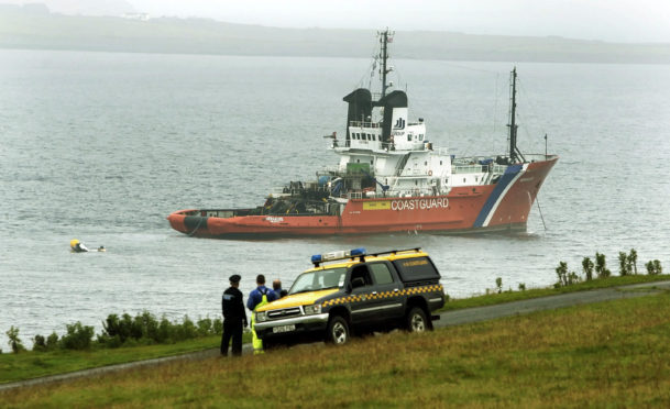 The scene during the recovery operation in 2013.