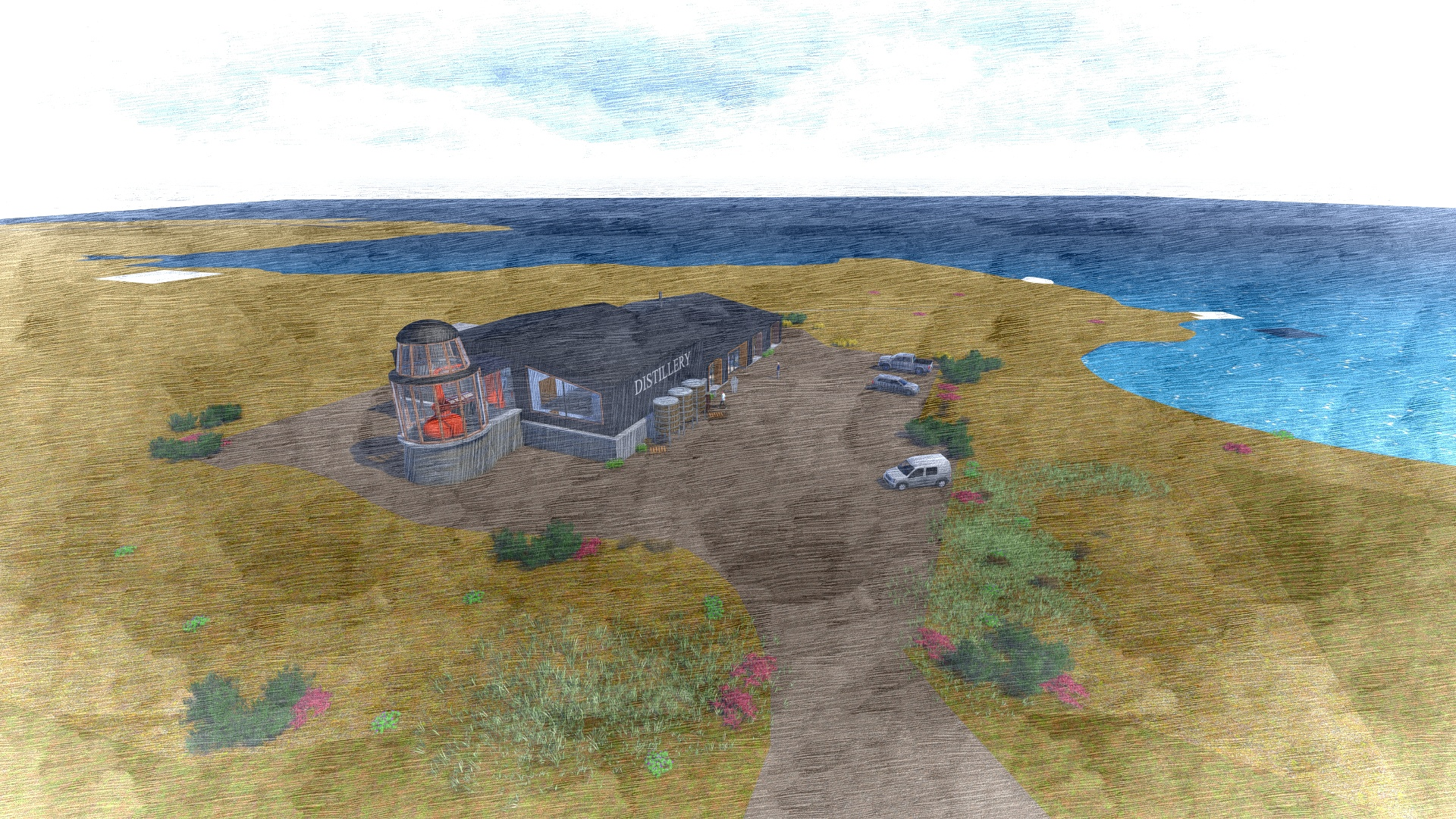 A bird's eye view of the distillery proposed in Gramsdale, Benbecula. submitted