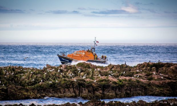 Peterhead RNLI off the coast at North Haven.