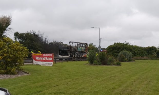 A bus on fire outside Crimond. Submitted by Michael Best.