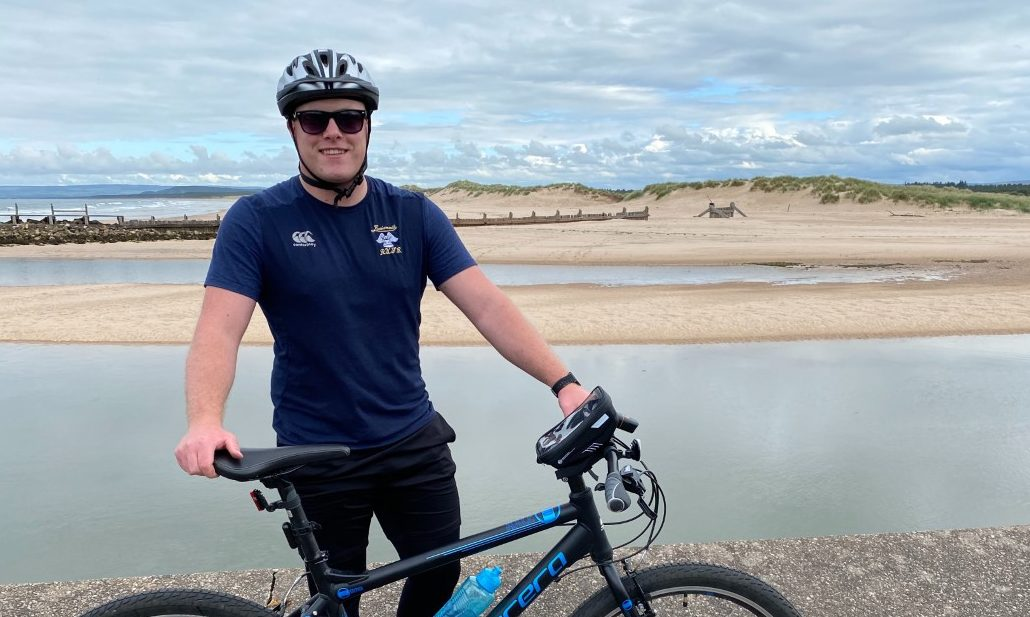 Callum Witkowski completed his cycling challenge.