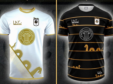 The Loch Ness FC kits. The away kit is on the left, with the home kit on the right.