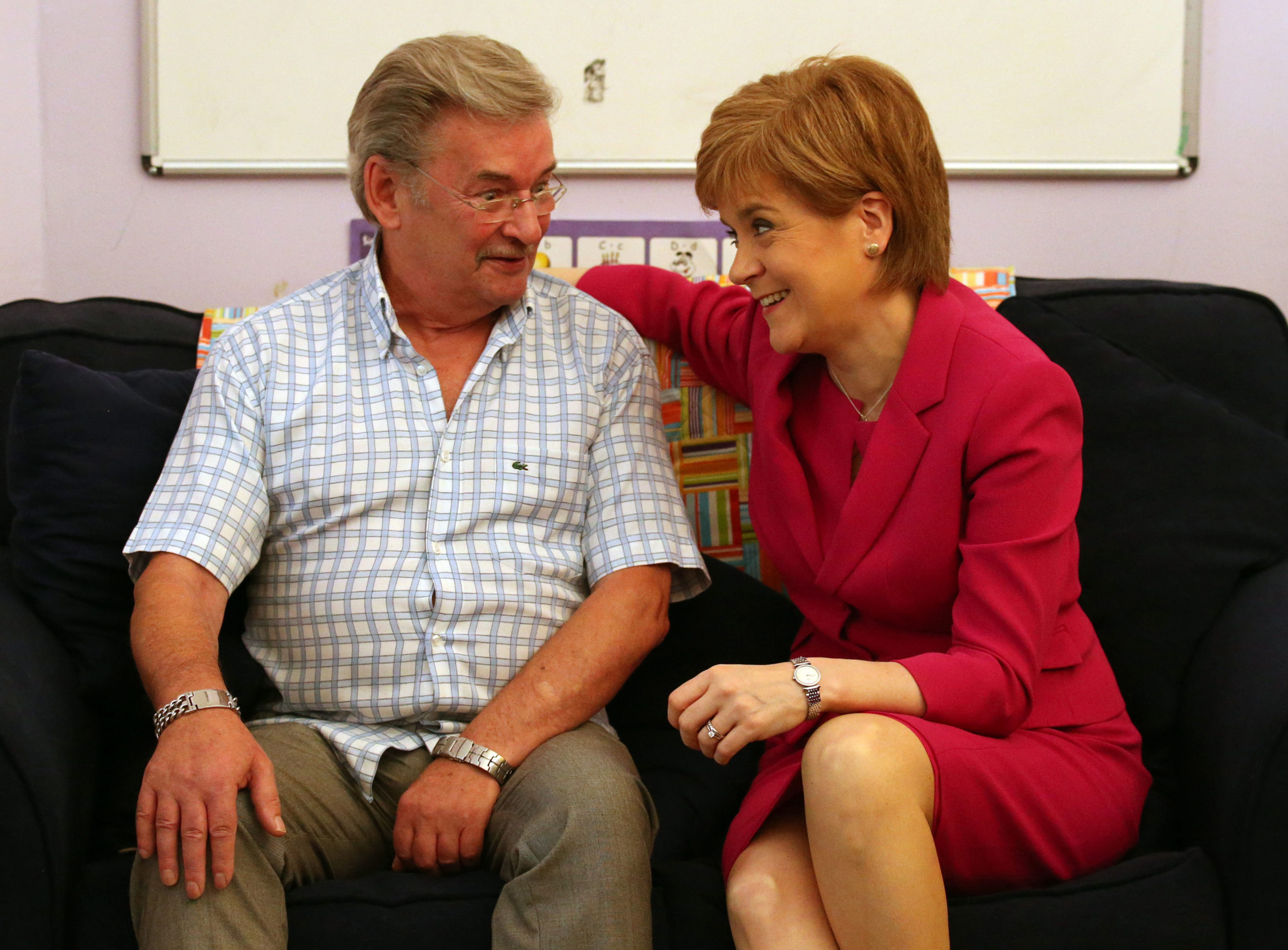 """First Minister Nicola Sturgeon with Michael Brown, who successfully campaigned for a woman's """"right to know"""" after his daughter was murdered by an ex-partner with a violent past."""