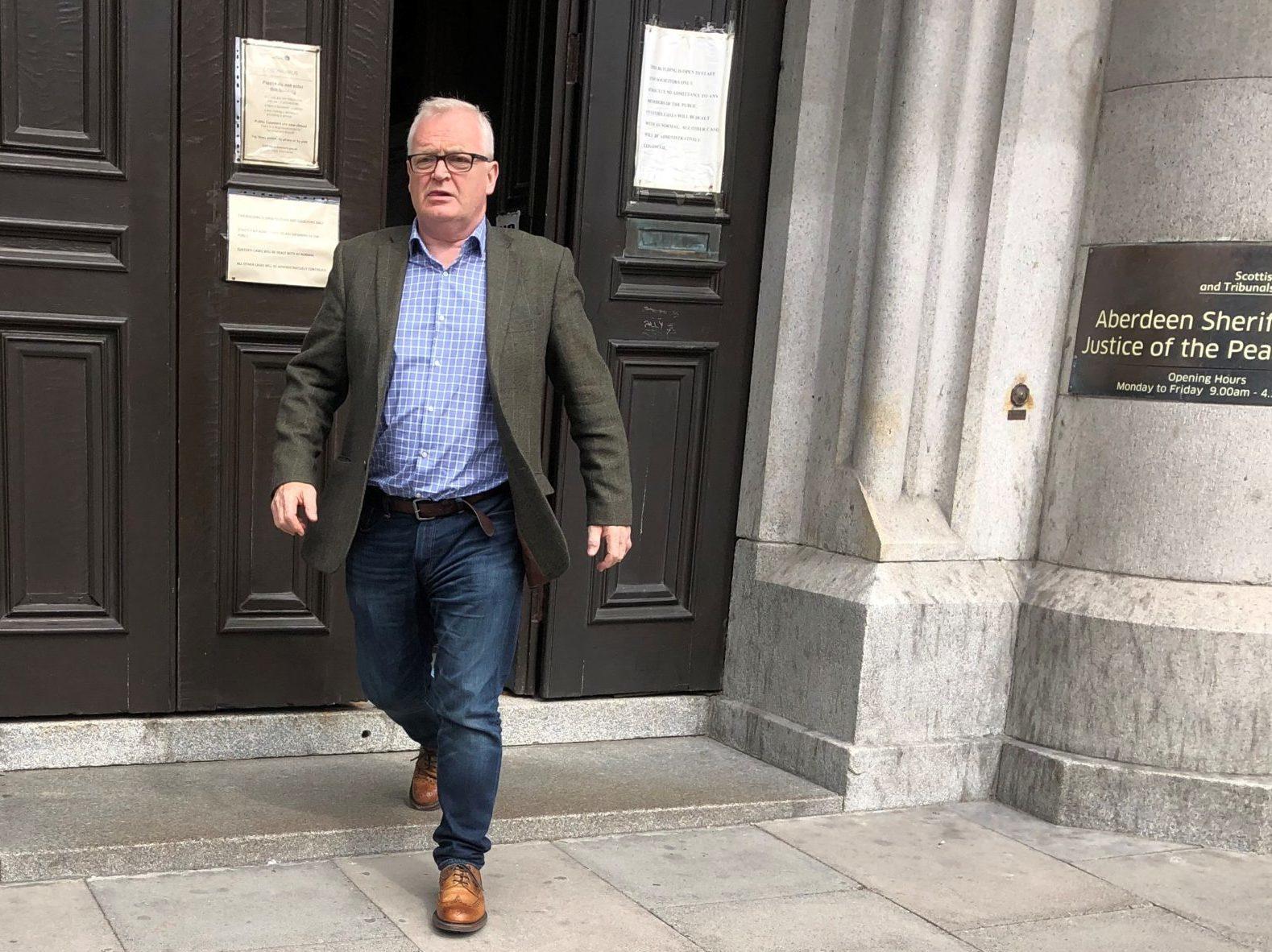 Duncan Shepherd leaving Aberdeen Sheriff Court.