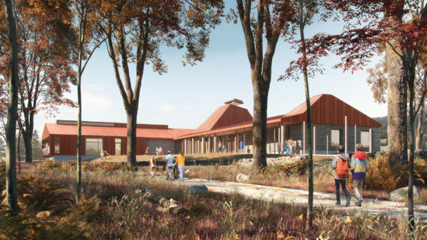 An artists impression of what the Dundreggan Rewilding Centre will look like.