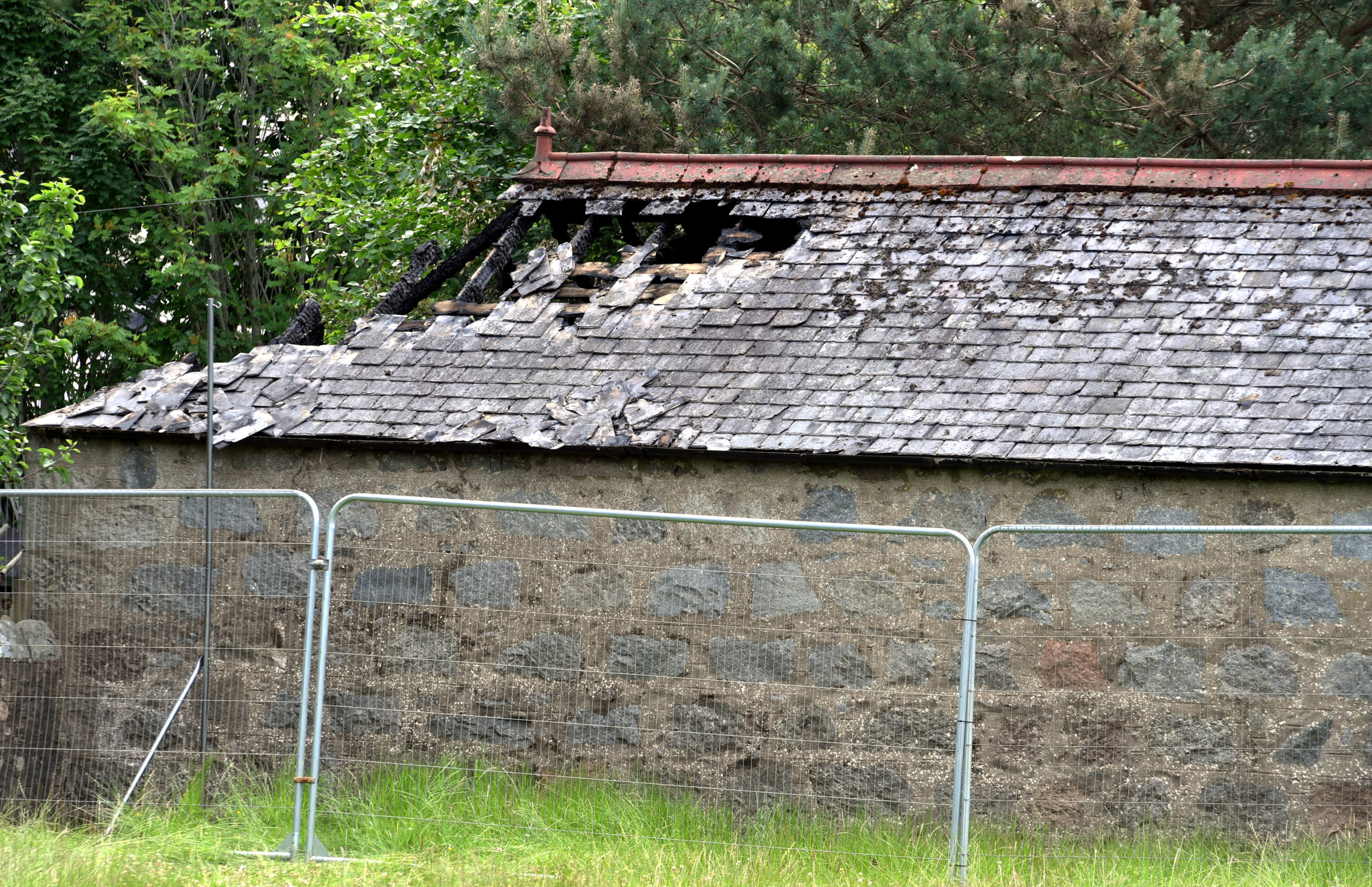 The aftermath of a fire in a playground shelter at Monymusk School. Picture by Chris Sumner