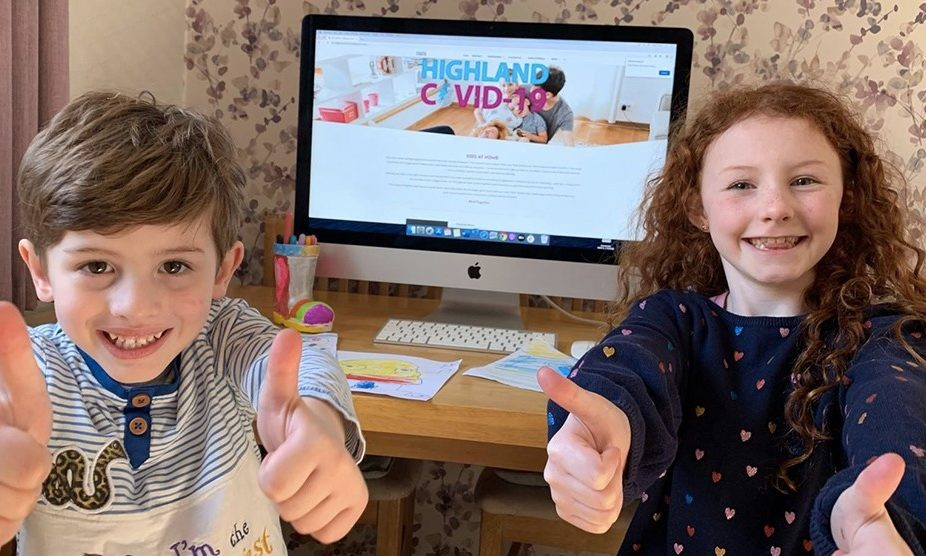 Ella-Mae-Hosie-8-and-Theo-Hosie-4-from-Inverness-enjoying-the-Kids-Zone-activities-on-the-Highland-Covid-19-website