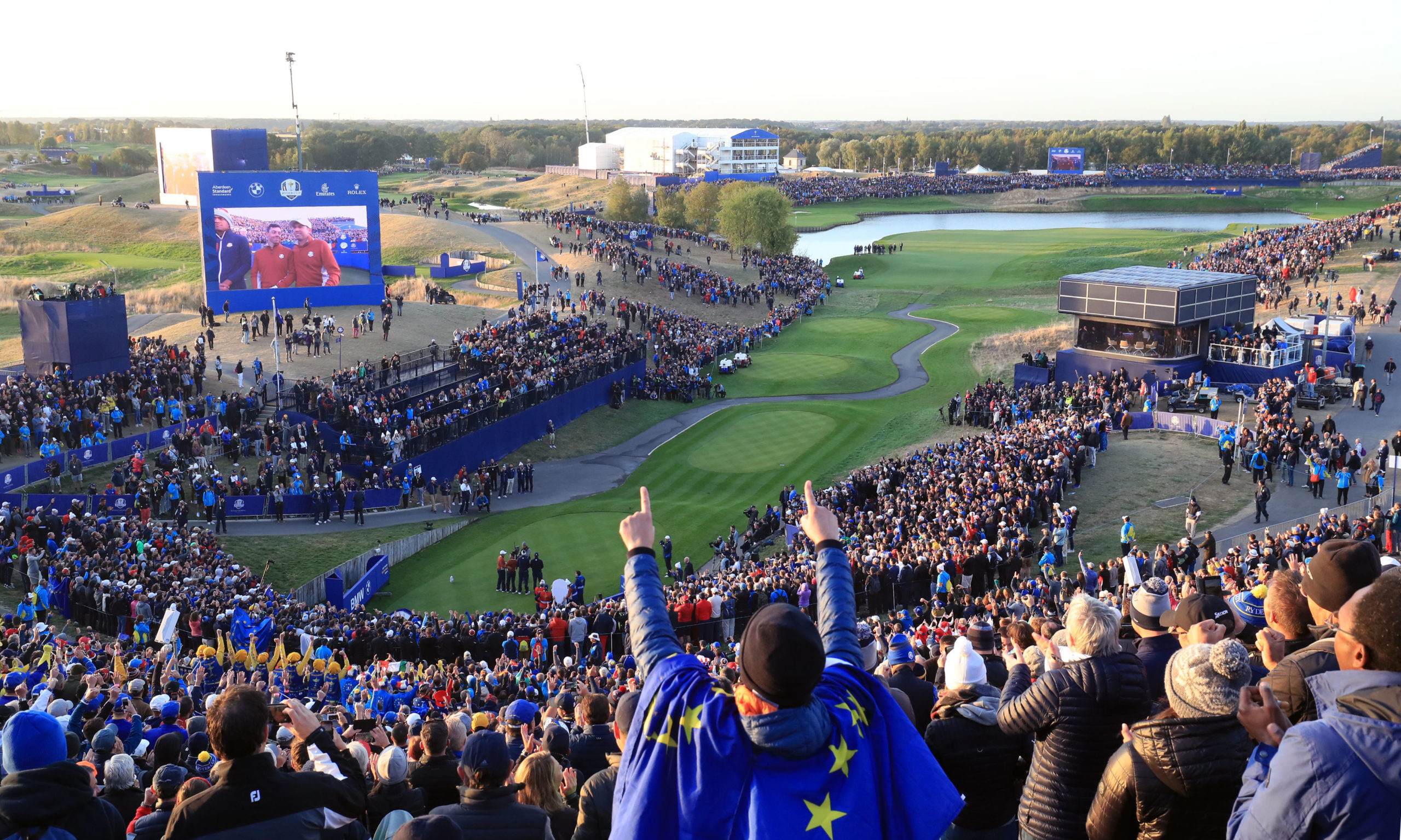 Team USA's Tony Finau and Brooks Koepka and Team Europe's Rory McIlroy and Sergio Garcia on the 1st tee during the Fourballs match on day two of the Ryder Cup at Le Golf National, Saint-Quentin-en-Yvelines, Paris.