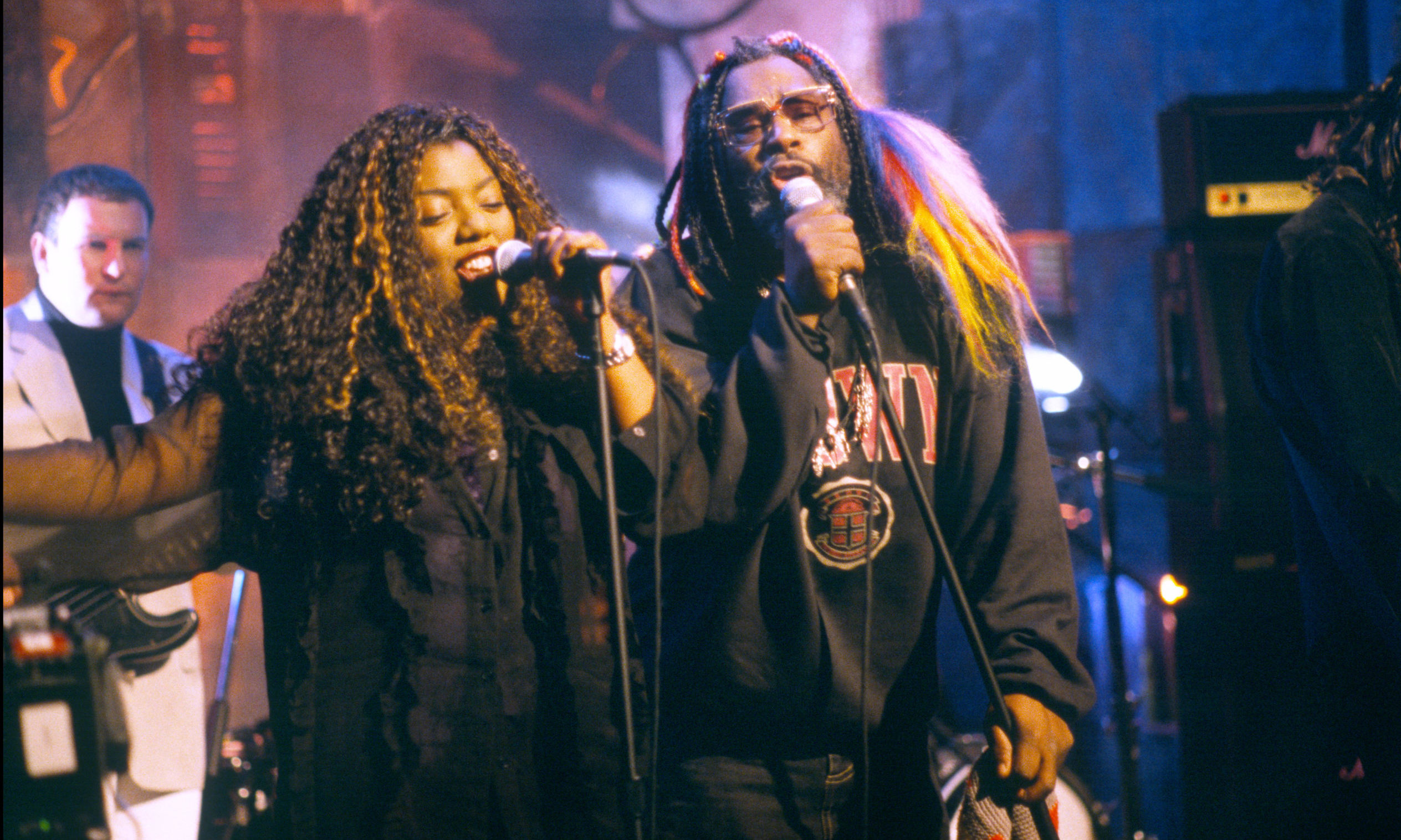 George Clinton, Denise Johnson and Primal Scream performing at NBC TV Studios, July 1996.