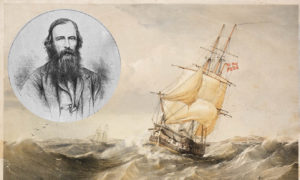An 1852 sketch by Oswald Brierly of HMS Rattlesnake and Bramble; and, inset, the Aberdeen naturalist John MacGillivray