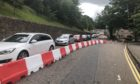 Traffic backs up on Castle Road in Inverness