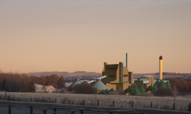 An artist's impression of the proposed waste incinerator at Thainstone. View from the A96 Aberdeen to Inverness road.